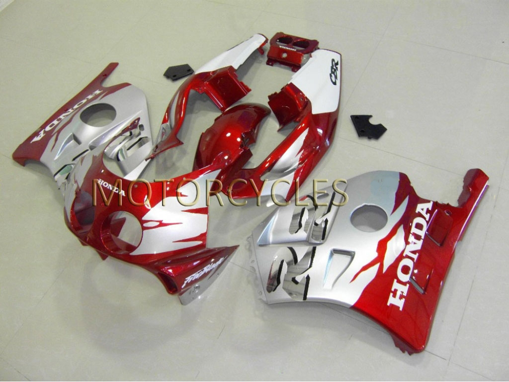 Aftermarket honda cbr250r custom fairings Candy Red Silver - 90-