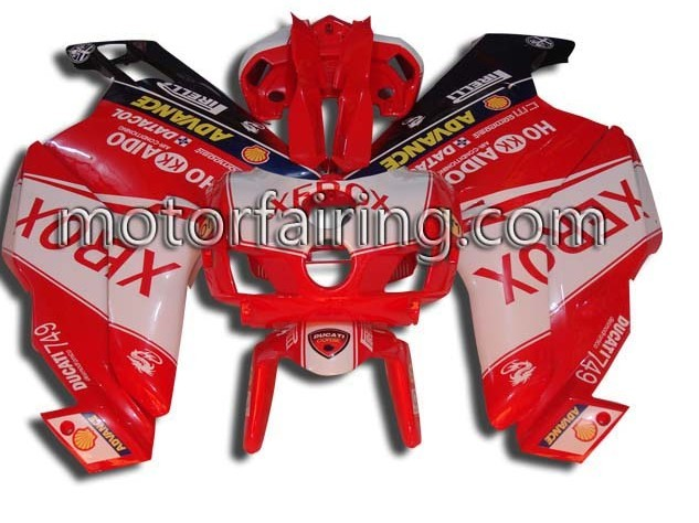 Red/White ABS Fairins kit Ducati 749/999 2005-2006