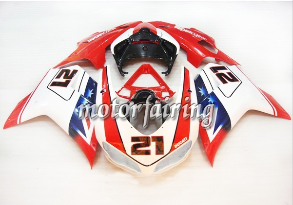 Cool Ducati 1098/848/1198 2007-2009 ABS Fairing - Red/White/Blue