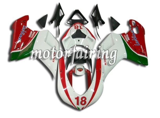 OEM Ducati 1098/848/1198 2007-2009 ABS Fairings - White/Green/Re