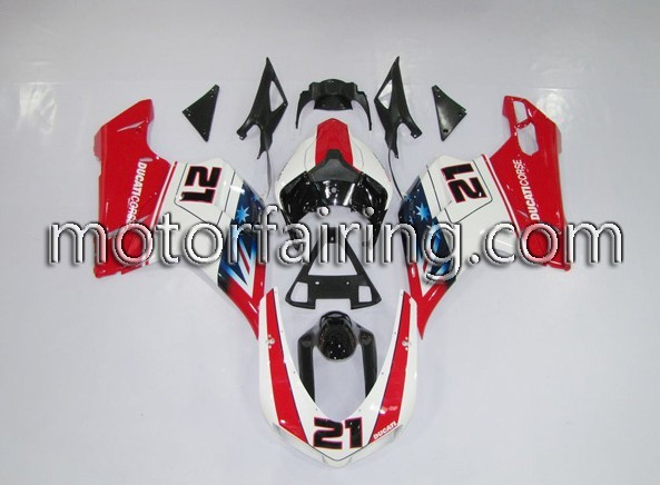 Cheap ABS Fairing Set Ducati 1098/848/1198 2007-2009 - White/Red