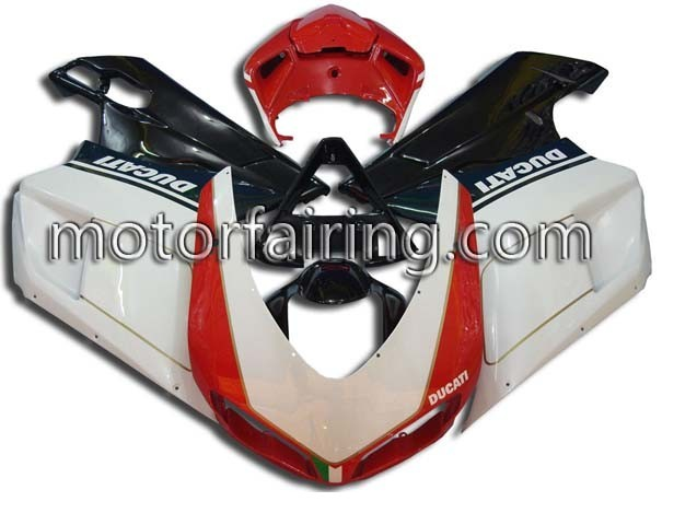 Red/White/Black ABS Fairins kit Ducati 1098/848/1198 2007-2009