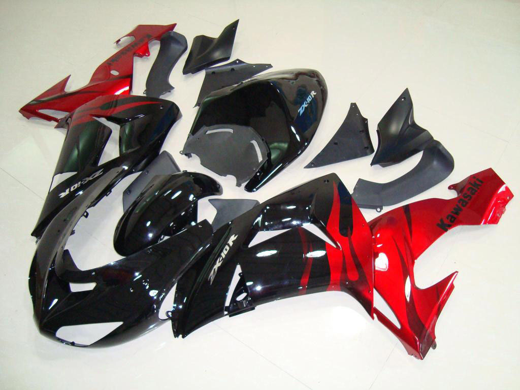 Red Black Flame - 2007 ninja fairing kit