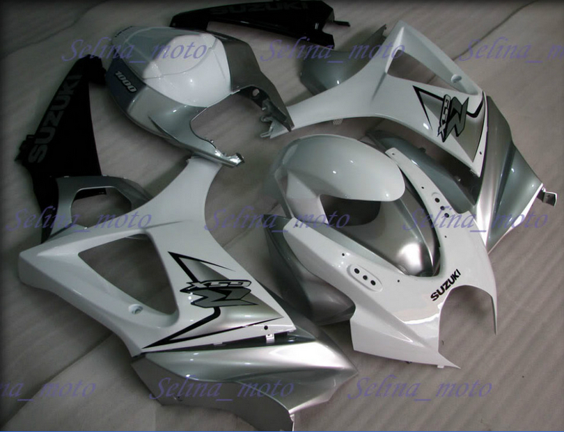 white silver and black fairing set for 07-08 gsxr 1000