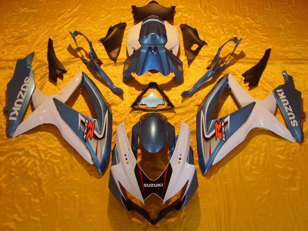 Canada ABS aftermarket GSXR600 fairings kit( white and light blu