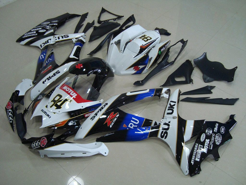 United Kingdom OEM ABS GSXR600 fairings For SUZUKI (White Black)