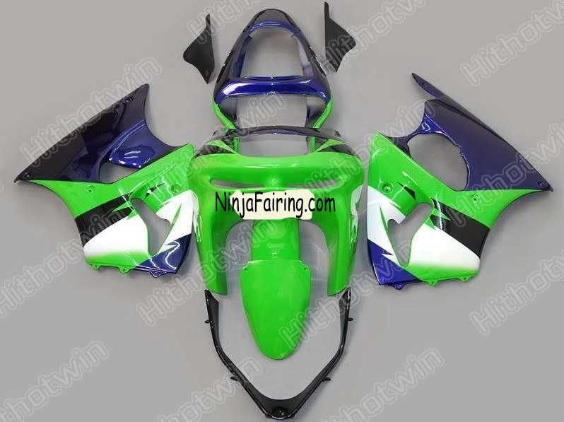 Custom ABS zx6r fairing Wholesale usa ---Green and bule color